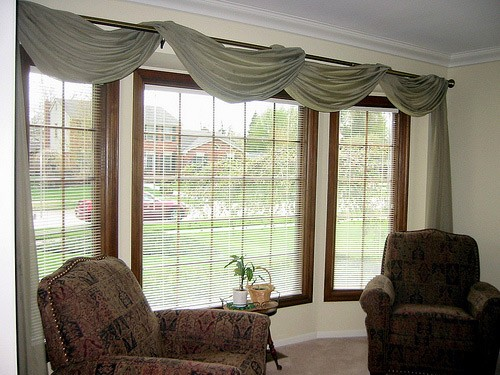 Lovely Bay Window Curtain Rod Ideas