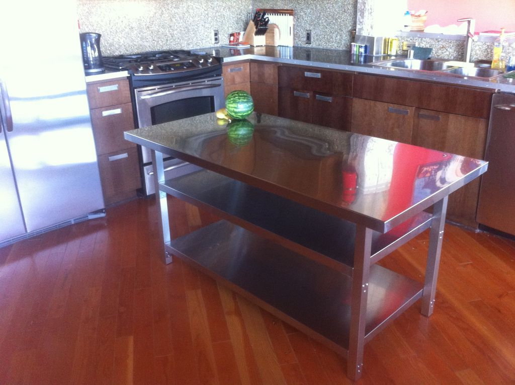 Kitchen Island Cart Stainless Steel Top | A Creative Mom