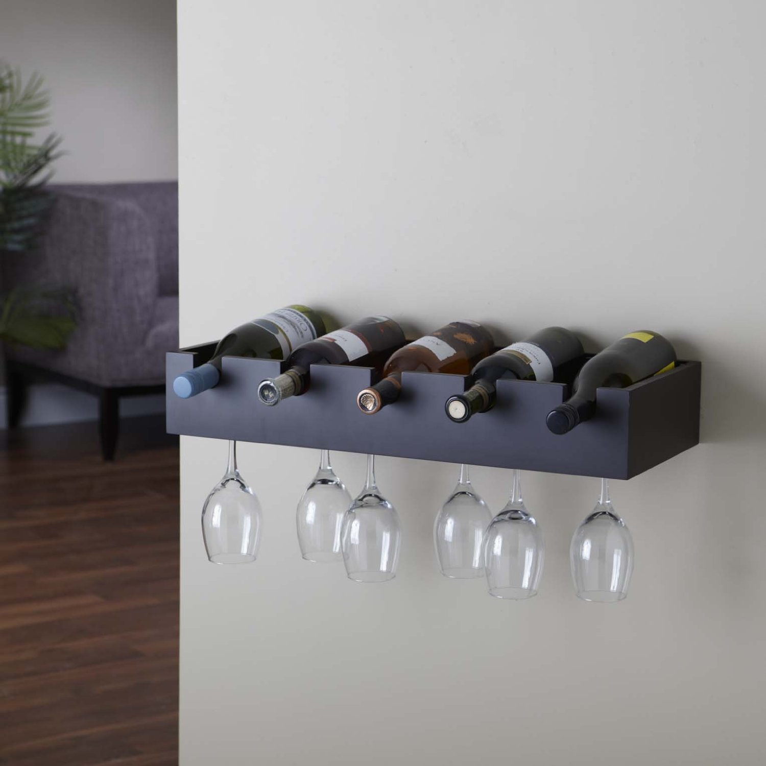 Wall Wine Rack With Gl Holder