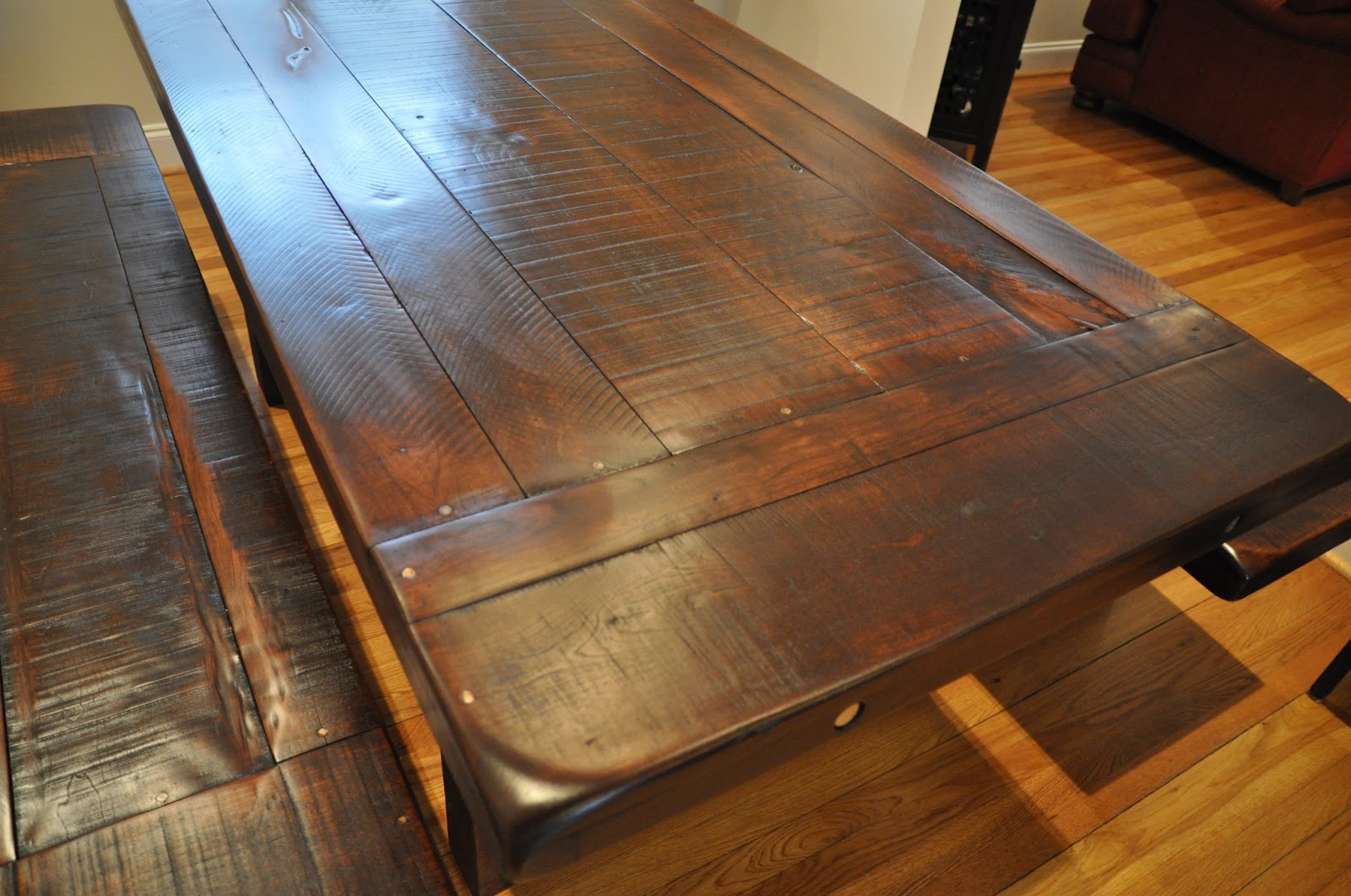Rustic dining room table with bench