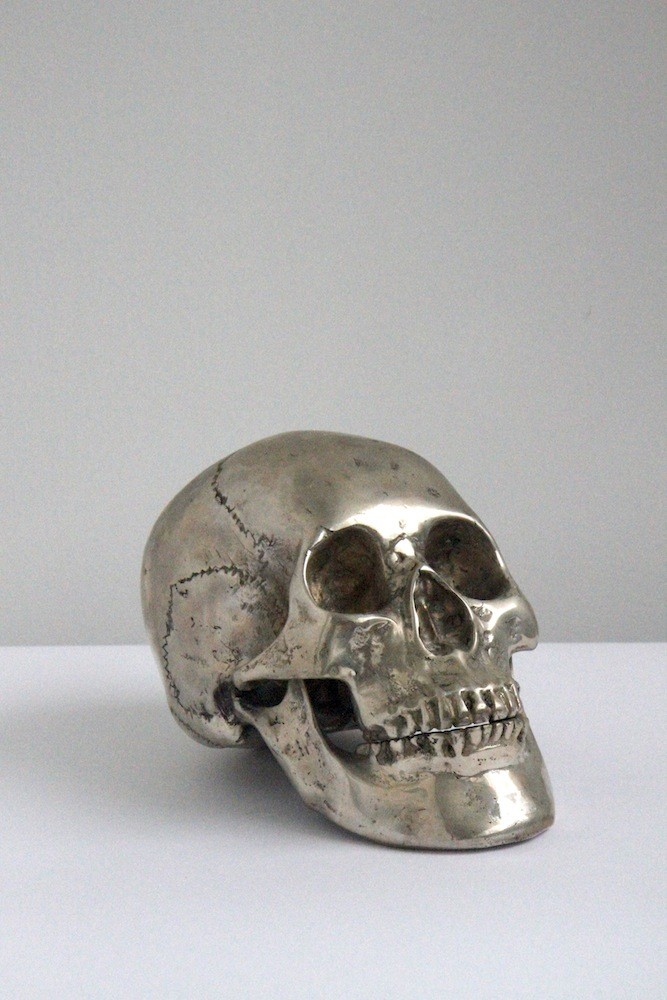 Silver skull home decor