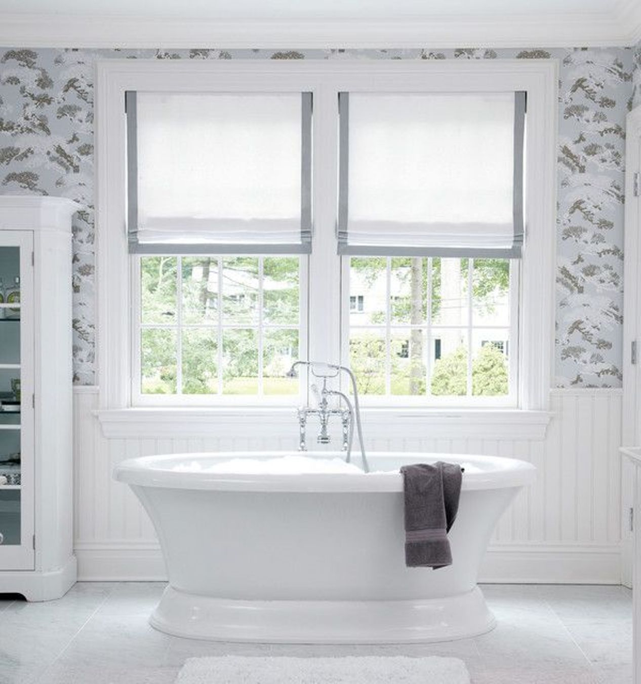 Small bathroom window curtains a creative mom for Blinds bathroom window