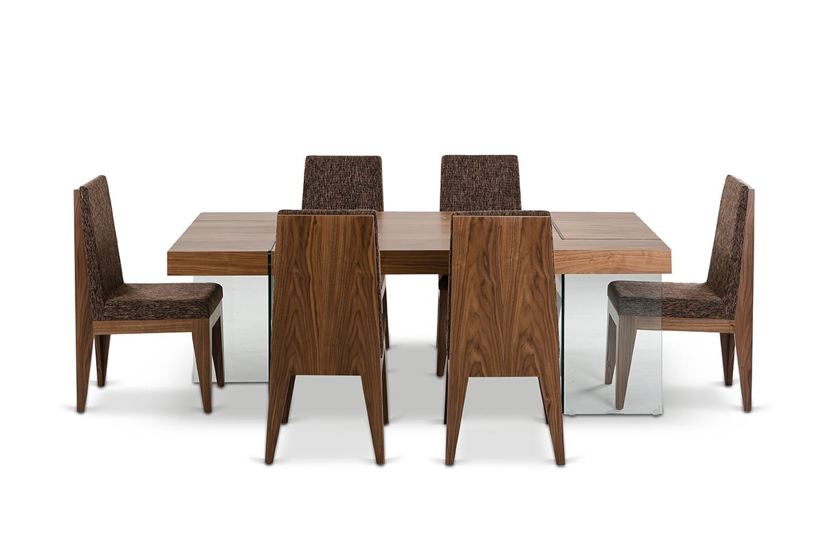 Walnut dining table chairs