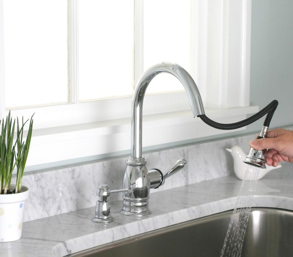save space with a pull down kitchen faucet a creative mom peerless faucet single handle kitchen fixtures kitchen