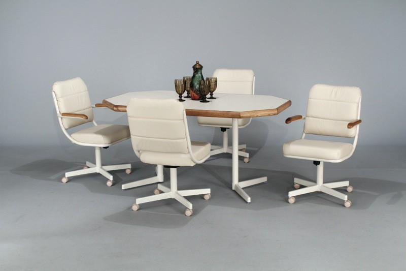 Leather kitchen chairs with casters