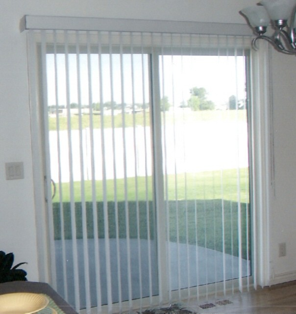 Sliding glass doors with interior blinds