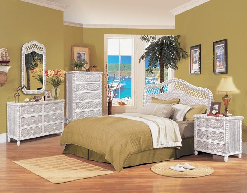 White Wicker Bedroom