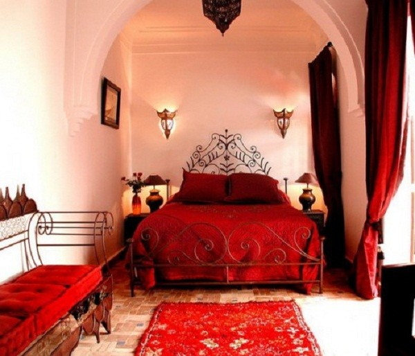 Red Canopy Bed Curtains