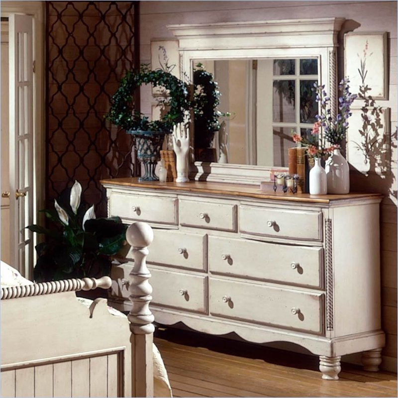 White Dresser And Mirror