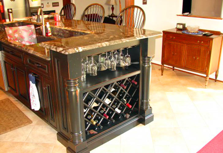Black Kitchen Island With Wine Rack