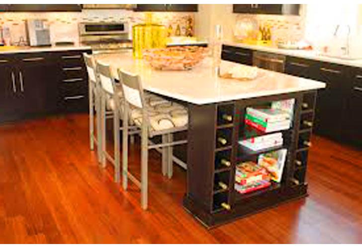 Kitchen Island Wine Rack Storage