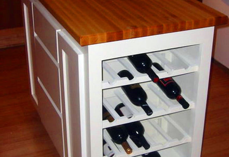 Kitchen Island With Wine Rack On One Side