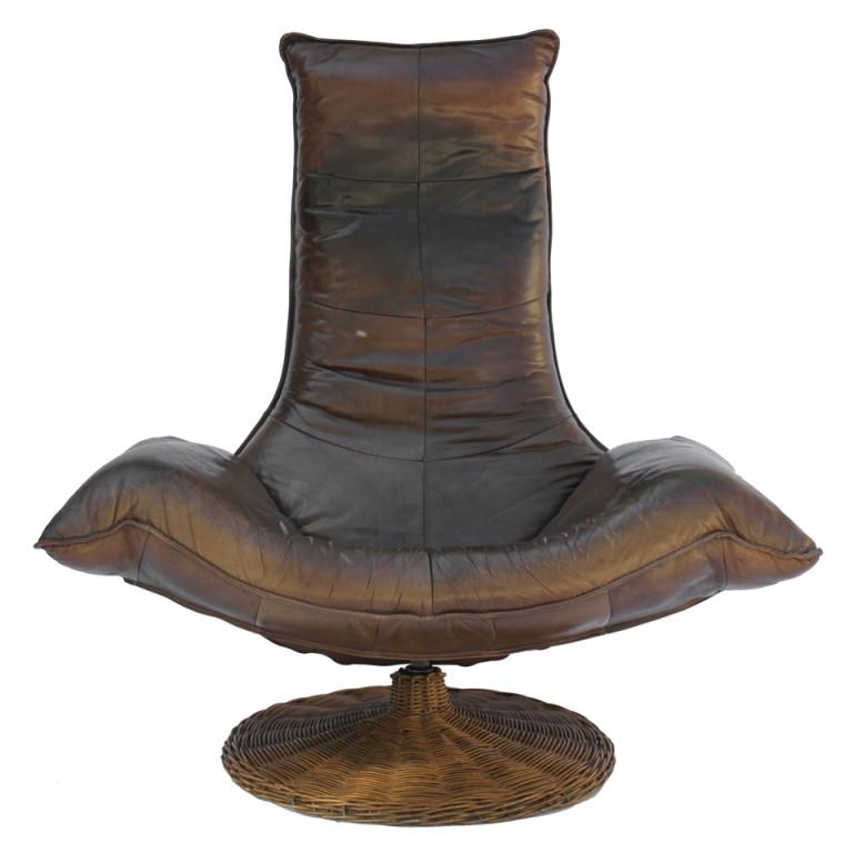 Leather Swivel Barrel Chairs