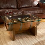 glass top wine barrel table