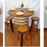 wine barrel table and stools
