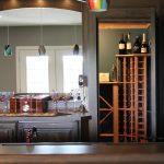 corner wine rack in kitchen