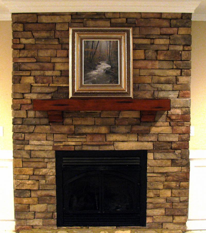 Fireplace rock veneer
