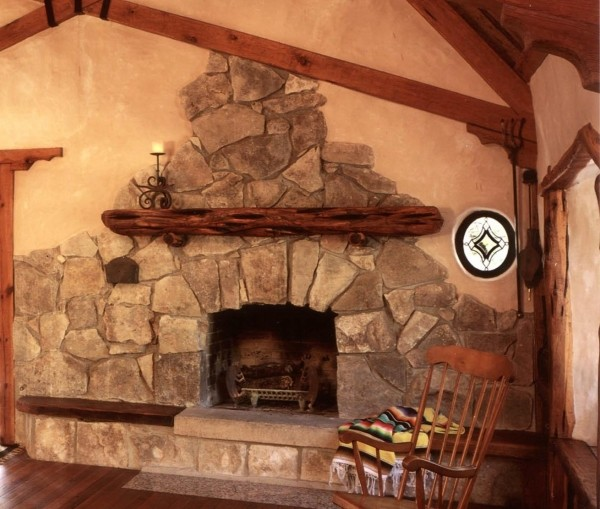 Fireplace with rocks