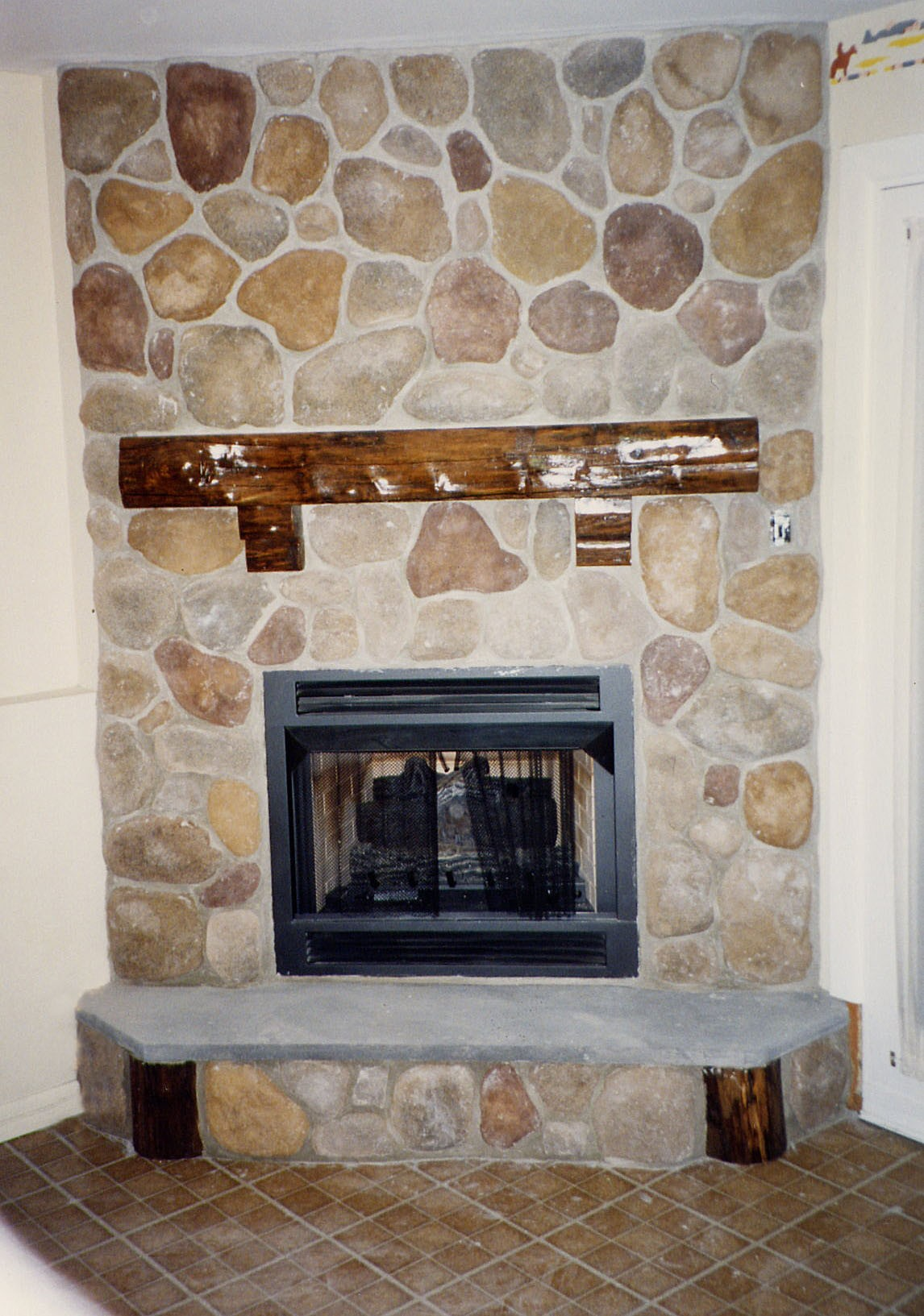 Fireplaces with glass rocks