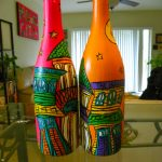 Painted Wine Bottle Centerpieces