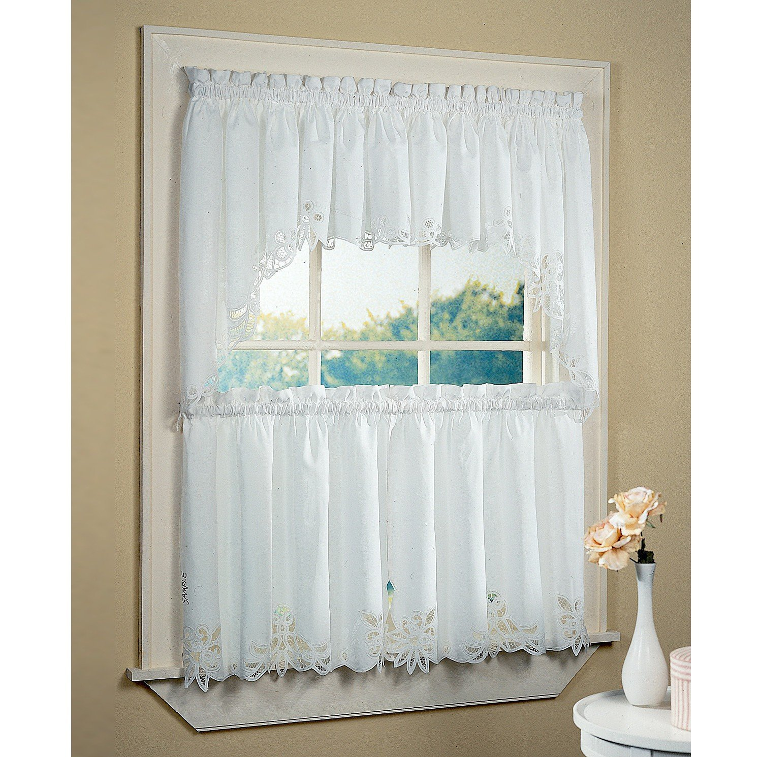 White Bathroom Window Curtains