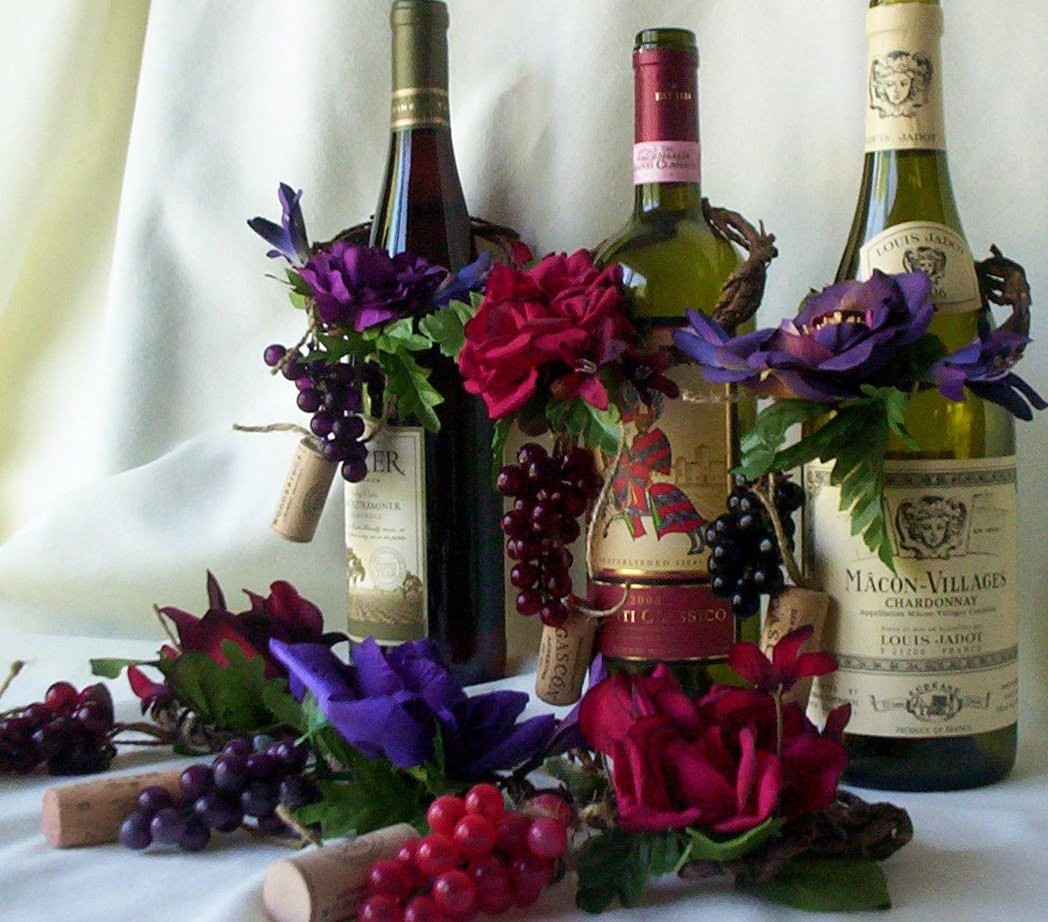 Wine Bottle Centerpieces With Flowers
