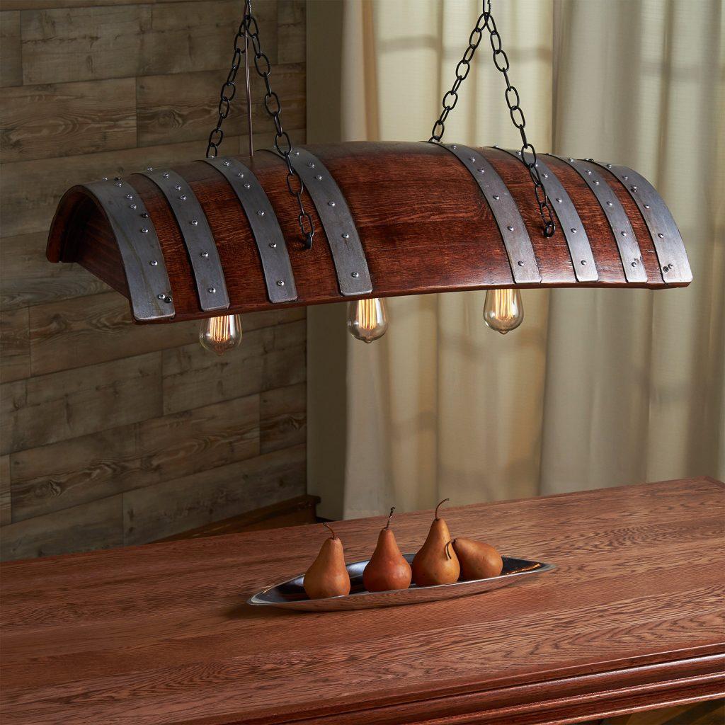 Wood Barrel Chandelier