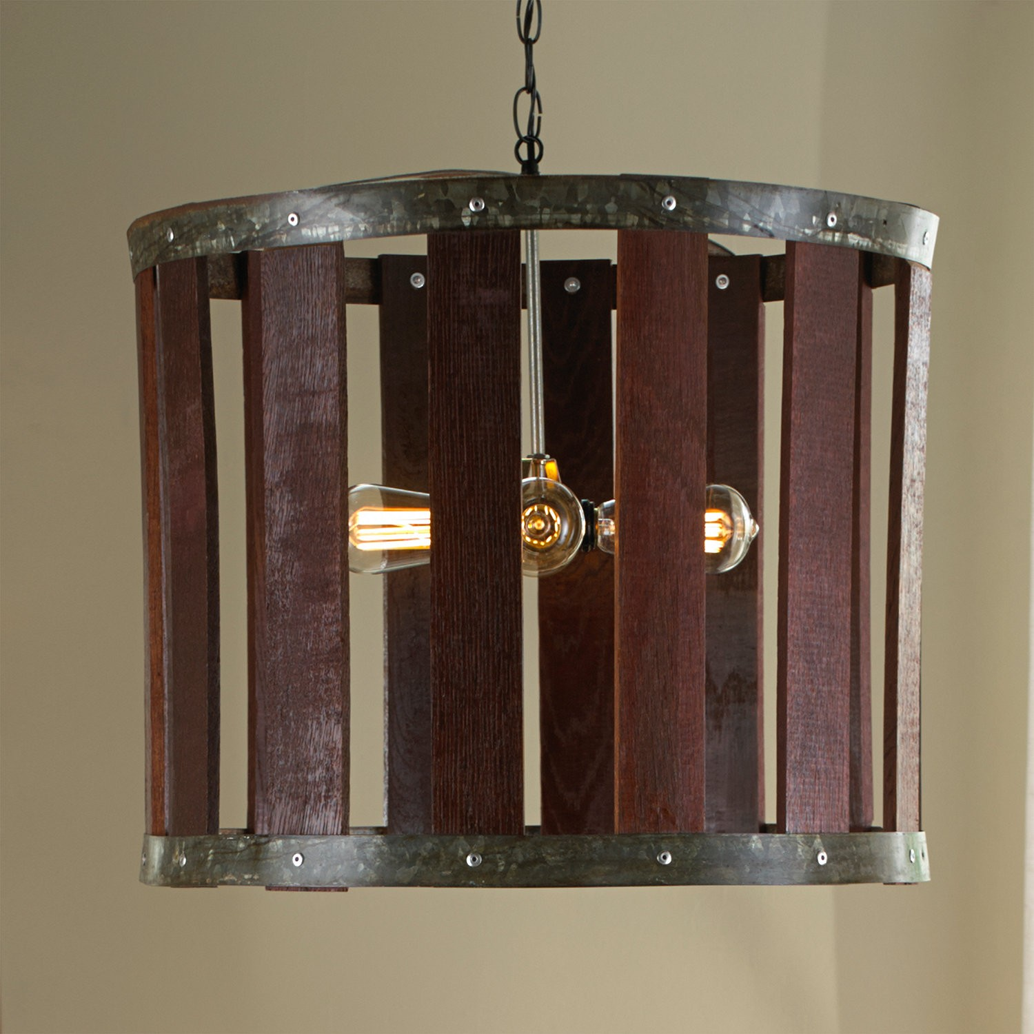 Wooden Wine Barrel Chandelier