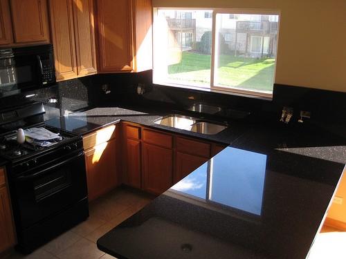 Black granite kitchen countertops