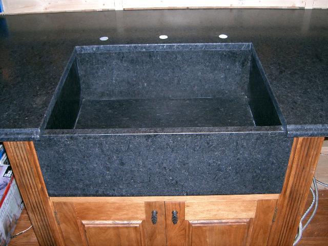 Black honed granite countertops