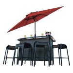 Corona 6 Piece Wicker Bar Set