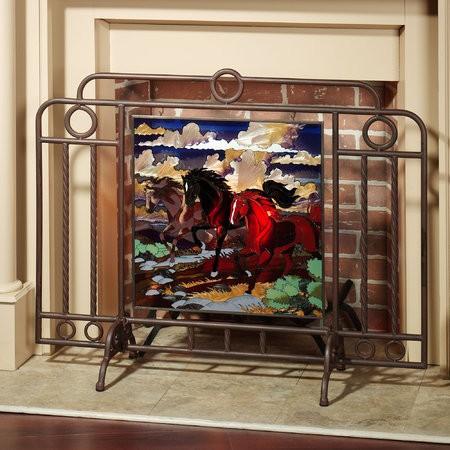 Decorative wood fireplace screens