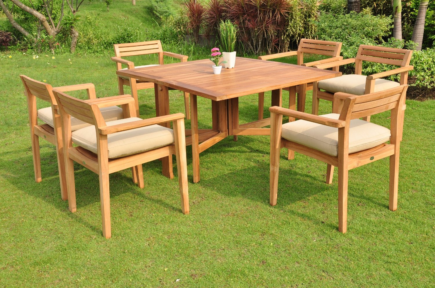Teak dining table indoor