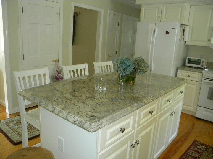 White granite tile countertop