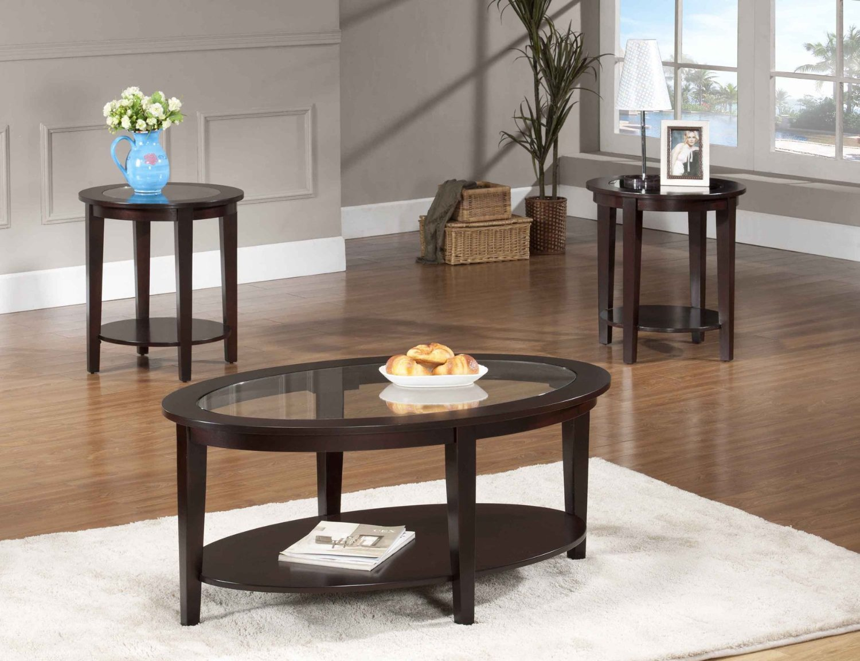 Oval coffee table set