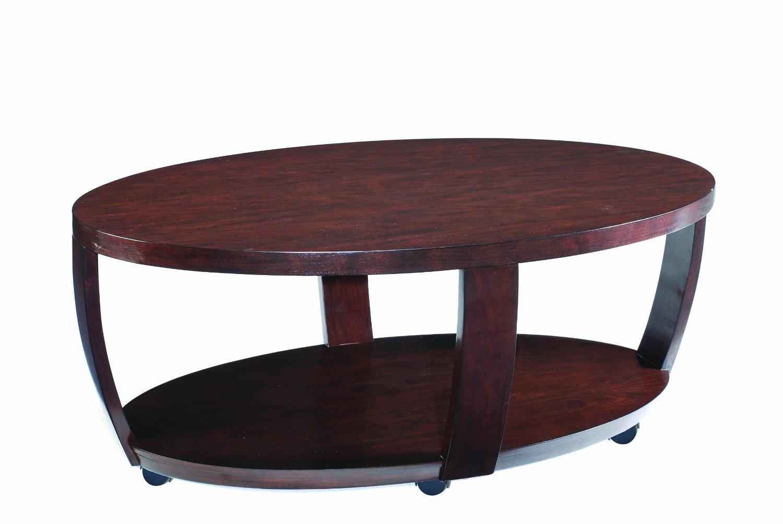 Oval wood coffee table