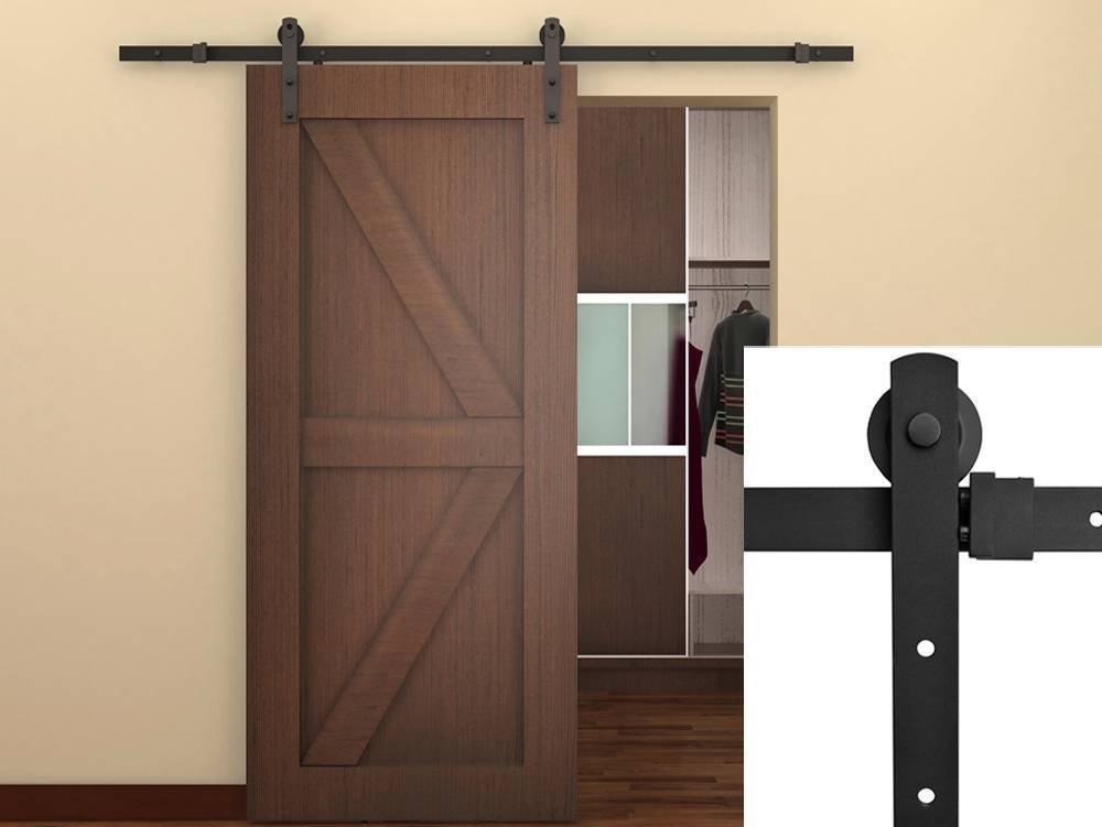 TCBunny® 6.6FT Sliding Door Hardware Closet Set Antique Style (Brown)   Fit Both Wooden Wall And Concrete Wall