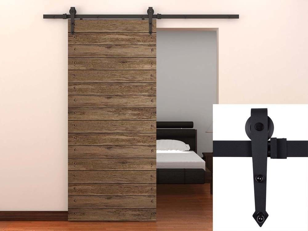 TMS® 6 Ft Black Modern American Style Barn Wood Sliding Door Hardware Closet Set New