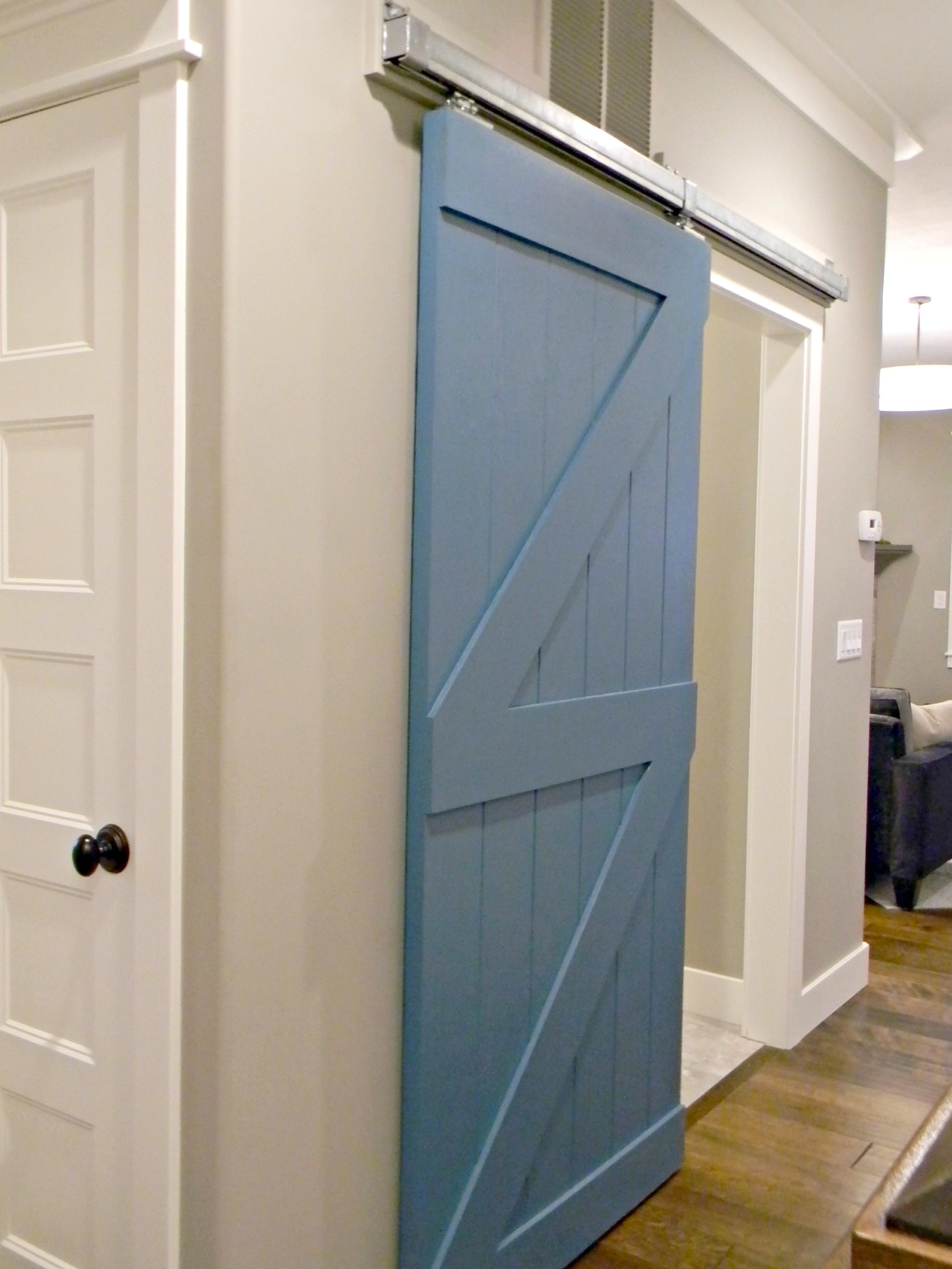 Sliding barn doors inside house