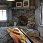 Bedroom River Rock Corner Fireplace Design