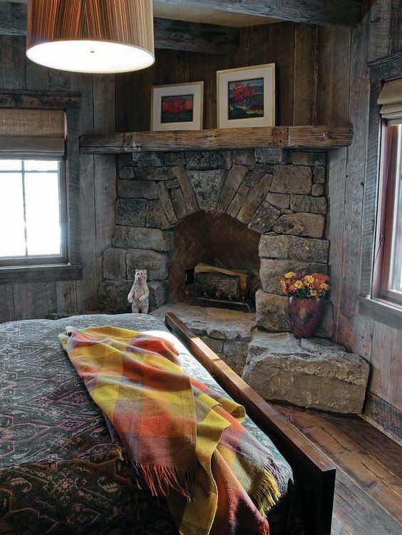 Bedroom River Rock Corner Fireplace Design