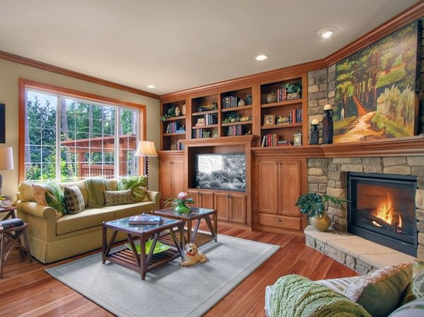 Bookcases With Corner Fireplace Design
