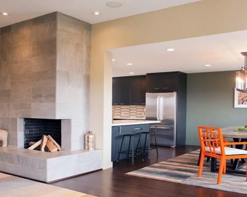 Corner fireplace design living room kitchen ideas