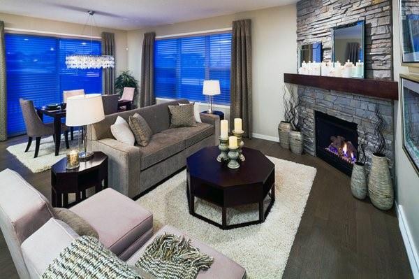 Corner Fireplace Design With Dark Wood Mantel Beam