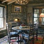 Dining Room Log Cabin Corner Fireplace Design