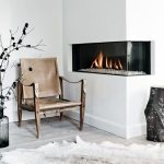 Drywall Built In Glass Corner Fireplace Design