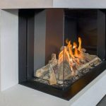Glass Corner Fireplace Design