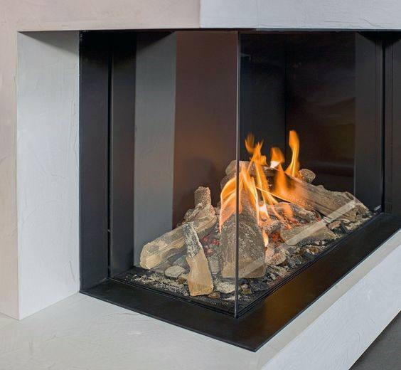 Glass corner fireplace design