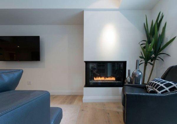 Glass living room corner fireplace design