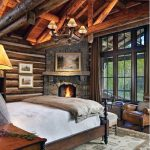 Log Cabin Interior Corner Fireplace Design In Bedroom Of House